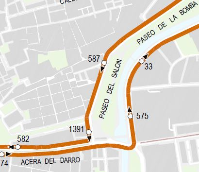 line 9 turns from Acera del Darro to Basilios
